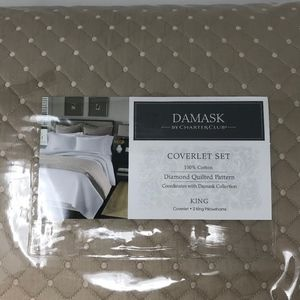 Damask by Charter Club King Quilted Coverlet Set